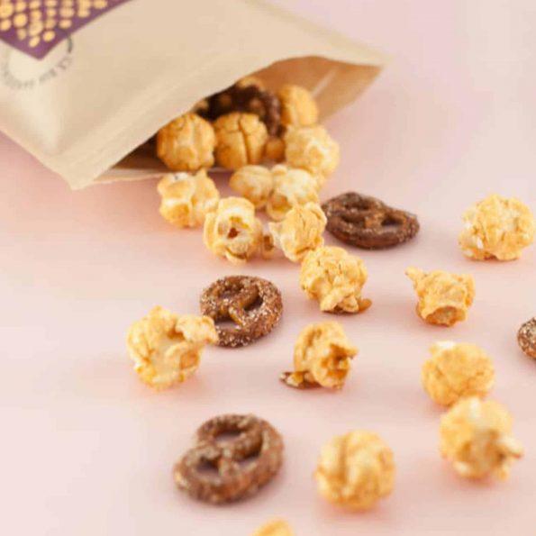Knalle Popcorn mit Brezel und weißer Schokolade